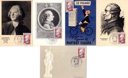 """Lot """" BEAUMARCHAIS """" Sur 5 Cartes Maximum De 1967. Diverses éditions. N° YT 1512. TB état CM - Cartas Máxima"""
