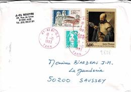 TP  N° 2825, 2828 Et 2618 Sur Enveloppe De Albi, Oblitération Rouge - Marcophilie (Lettres)