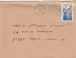 TP  N° 2829 Seul  Sur Enveloppe De Orvilliers - Marcophilie (Lettres)