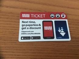 Ticket De Transport *x (bus, Métro, Tramway) MINI - CLIPPER - SAN FRANCISCO - USA - Subway