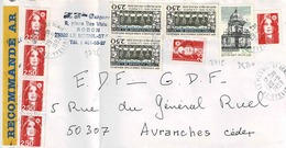TP  N° 2725 En 3 Ex, 2830, 2715 En Bande De 6 Et 2807  Sur Enveloppe En Recommandé Du Mesnil St Denis - Marcophilie (Lettres)