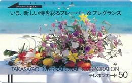 Japan Balken Telefonkarte  Blumen * 110-20995 *  Japan Front Bar Phonecard - Japan