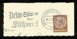 WW II Briefstück : Mit Werbestempel, Deine Stimme Dem Führer ,Berlin Charlottenburg 1936 - Briefe U. Dokumente