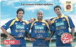 Sri Lanka - Dialog Tel. - EZ Card, Three Cricket Players, Prepaid 100Rs, Used - Sri Lanka (Ceylon)