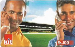 Sri Lanka - Dialog Tel. - KIT Card, Two Cricket Team Players Version #1, Prepaid 100Rs, Used - Sri Lanka (Ceylon)