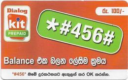 Sri Lanka - Dialog Tel. - KIT Prepaid, Balance Number #1, Prepaid 100Rs, Used - Sri Lanka (Ceylon)