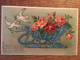 """CPA, Origine Allemande """" Lass Die Blümlein Mich Dir.."""" Traineau Avec Bouquet De Fleurs, 2 Colombes, écrite, 1915,gaufrée - Holidays & Celebrations"""