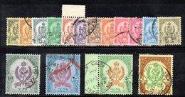 APR2352 - LIBIA 1960 ,  Serie 16 Valori Usata Su Carta Colorata  (2380A)  ORDINARIA - Libia