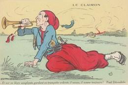 CPA Soldat Militaire Militaria Patriotique Le Clairon Trompette Paul DEROULEDE Illustrateur  (2 Scans) - Patriotic
