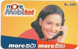 Sri Lanka - Mobitel - More Mobitel, Lady With Phone, Prepaid 350Rs, Used - Sri Lanka (Ceylon)