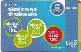 Sri Lanka - Tigo - Advertisement With Messages (With Barcode, Backside #1), Prepaid 150Rs, Used - Sri Lanka (Ceylon)