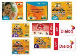 Sri Lanka - Lot Of 9 Different Prepaid Cards (Various Companies) All Used - Sri Lanka (Ceylon)