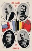 CPA Patriotique Militaire Militaria Les Alliés 1914  Nicolas II /  GeorgesV /  Albert 1er /  Poincaré  (2 Scans) - Patrióticos