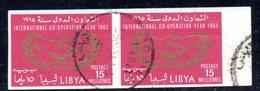APR2355 - LIBIA 1965 ,  Coppia  Usata NON Dentellata Sassone N. 167  (2380A)  COOPERAZIONE - Libia