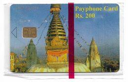 Nepal - Nepal Telecom - Temple, 200Rs, Serial At Top Left, NSB - Nepal