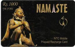 Nepal - Nepal Telecom - Namaste, Statue, Exp.30.12.2007, Prepaid 1000Rs, Used - Nepal