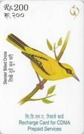 Nepal - Nepal Telecom - Birds, Slender Billed Oriole, Exp.03.07.2009, Prepaid 200Rs, Used - Nepal