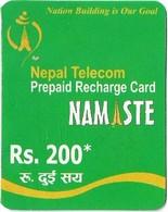 Nepal - Nepal Telecom - Namaste - Green, Exp.31.01.2012, Mini Prepaid 200Rs, Used - Nepal