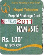Nepal - Nepal Telecom - Namaste - Gray (Nepal Tourism Year 2011), Exp.30.06.2012, Mini Prepaid 100Rs, Used - Nepal