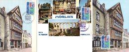 """Lot """" MORLAIX """" Sur 3 Cartes Maximum De 1967. Diverses éditions. N° YT 1505. TB état CM - Cartas Máxima"""