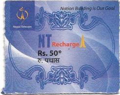 Nepal - Nepal Telecom - Generic NT Refill Design (Deep Blue), Mini Prepaid 50Rs, Exp.31.12.2020, Used - Nepal
