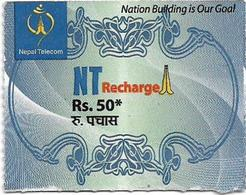 Nepal - Nepal Telecom - Generic NT Refill Design (Light Blue), Mini Prepaid 50Rs, Exp.30.06.2021, Used - Nepal