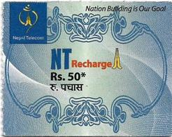 Nepal - Nepal Telecom - Generic NT Refill Design (Light Blue), Mini Prepaid 50Rs, Exp.31.01.2021, Used - Nepal