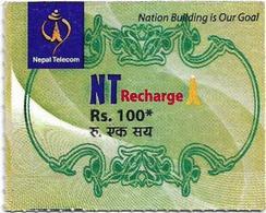 Nepal - Nepal Telecom - Generic NT Refill Design (Green), Mini Prepaid 100Rs, Exp.30.06.2020, Used - Nepal