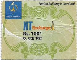Nepal - Nepal Telecom - Generic NT Refill Design (Green), Mini Prepaid 100Rs, Exp.31.01.2021, Used - Nepal