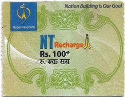 Nepal - Nepal Telecom - Generic NT Refill Design (Green), Mini Prepaid 100Rs, Exp.31.03.2021, Used - Nepal