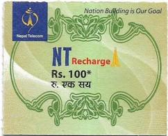 Nepal - Nepal Telecom - Generic NT Refill Design (Green), Mini Prepaid 100Rs, Exp.31.08.2020, Used - Nepal