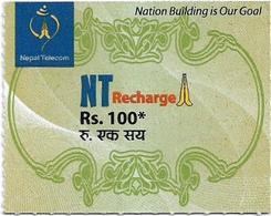 Nepal - Nepal Telecom - Generic NT Refill Design (Green), Mini Prepaid 100Rs, Exp.31.10.2020, Used - Nepal