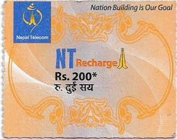 Nepal - Nepal Telecom - Generic NT Refill Design (Orange), Mini Prepaid 200Rs, Exp.31.01.2021, Used - Nepal