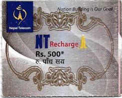 Nepal - Nepal Telecom - Generic NT Refill Design (Brown), Mini Prepaid 500Rs, Exp.30.06.2020, Used - Nepal
