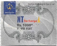 Nepal - Nepal Telecom - Generic NT Refill Design (Gray), Mini Prepaid 1000Rs, Exp. 30.04.2020, Used - Nepal