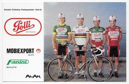 CARTE CYCLISME MILER-GOLINELLI-GAVAZZI-PELLICCONI TEAM POLLI 1989 - Cyclisme