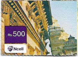 Nepal - Ncell - Building Facade, Mini Prepaid 500Rs, Used - Nepal