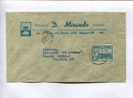 """EDITORIAL """"D. MIRANDA"""" ENVELOPE COMMERCIAL CIRCULATED FROM LIMA, PERU TO BUENOS AIRES, ARGENTINA 1946. -LILHU - Perú"""