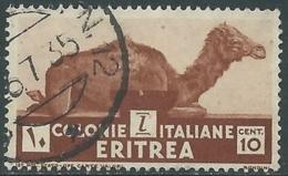 1933 ERITREA USATO SOGGETTI AFRICANI 10 CENT - UR31-5 - Eritrea