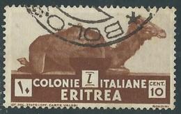 1933 ERITREA USATO SOGGETTI AFRICANI 10 CENT - UR31-6 - Eritrea