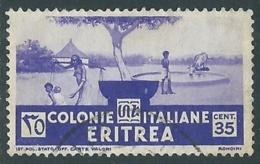 1933 ERITREA USATO SOGGETTI AFRICANI 35 CENT - UR31-5 - Eritrea