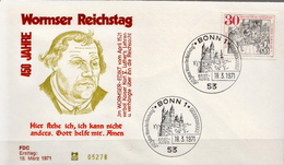 Germany Luther Stamp On FDC From 1971 - Christianity