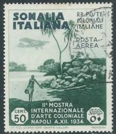 1934 SOMALIA POSTA AEREA USATO MOSTRA ARTE COLONIALE 50 CENT - UR31-9 - Somalia