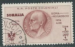 1934 SOMALIA POSTA AEREA USATO VOLO ROMA MOGADISCIO 1 LIRA - UR31-4 - Somalia