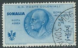 1934 SOMALIA POSTA AEREA USATO VOLO ROMA MOGADISCIO 2 LIRE - UR31-4 - Somalia