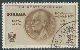 1934 SOMALIA POSTA AEREA USATO VOLO ROMA MOGADISCIO 50 CENT - UR31-4 - Somalia