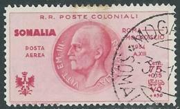 1934 SOMALIA POSTA AEREA USATO VOLO ROMA MOGADISCIO 75 CENT - UR31-4 - Somalia