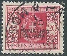 1934 SOMALIA SEGNATASSE USATO 20 LIRE - UR29-3 - Somalia