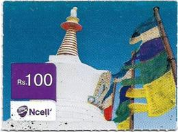 Nepal - Ncell - Flags, Mini Prepaid 100Rs, Used - Nepal