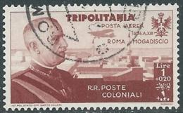 1934 TRIPOLITANIA POSTA AEREA USATO VOLO ROMA MOGADISCIO 1 LIRA - UR31-4 - Tripolitania